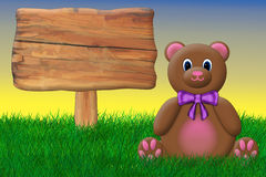 Teddy Bear and Sign. Valentine's teddy bear sitting beside a big wooden sign Royalty Free Illustration