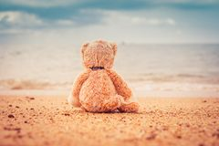 Teddy bear sit alone at the seashore royalty free stock photo