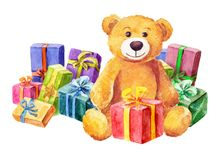 Teddy bear sits on a background of gifts. Watercolor Royalty Free Stock Image