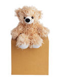 Teddy bear sits on a box Royalty Free Stock Photography