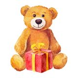 Teddy bear sits with a red gift. Watercolor. Royalty Free Stock Photos