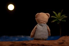 Teddy bear sitting alone looking at the moon and sea stock images