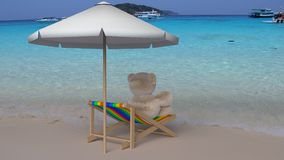 Teddy Bear sitting on a beach chair. Get a cool sea breeze casual. 3D Rendering Royalty Free Stock Photo