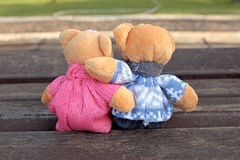 Teddy bear. Sitting in the garden Stock Images