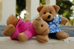 Teddy bear. Are sitting in the garden Royalty Free Stock Image