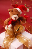 Teddy bear sitting on gift box Stock Images