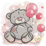 Teddy bear is sitting and pink balloons