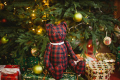 Teddy bear sitting under decorated with lights Christmas tree with gift boxes Royalty Free Stock Photography