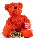 Teddy bear. Sitting on a white background Stock Photo