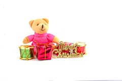 Teddy bear. Sitting on a white background Royalty Free Stock Photography