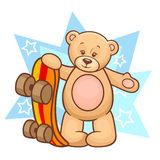 Teddy bear with skateboard Royalty Free Stock Images