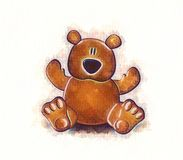 Teddy Bear Sketch. An illustration featuring a simple brown teddy bear with sktech/watercolor effect royalty free illustration
