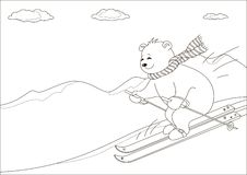 Teddy-bear skies in mountains, contours. Teddy-bear slides on skis from hill against a mountain landscape, contours Stock Photos