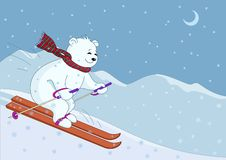 Teddy-bear skies in mountains night. Teddy-bear goes on skis from hill against night mountain landscape Royalty Free Stock Images