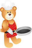 Teddy bear with skillet Stock Photo