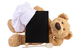 Teddy bear with slate board. Royalty Free Stock Image