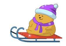 Teddy-bear on sledge Stock Photography