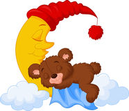 The teddy bear sleep on the moon Stock Photo