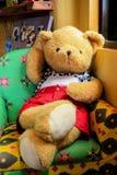 Teddy bear sleep on the sofa. Royalty Free Stock Photos