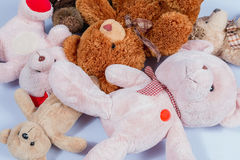 Teddy bear sleep together Royalty Free Stock Images