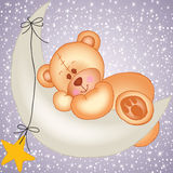 Teddy bear sleeping on a moon Stock Images