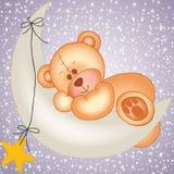 Teddy bear sleeping on a moon Stock Images
