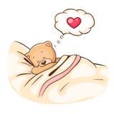 Teddy Bear sleeps. Illustration of cute Teddy Bear sleeps on pillow Stock Photos