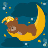 Teddy Bear sleeps on a moon Royalty Free Stock Photography