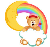 Teddy Bear Sleepy Cloud Rainbow Arkivbild