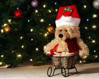 A Teddy Bear in a Sleigh Royalty Free Stock Photography