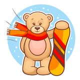 Teddy bear with snowboard Stock Photography
