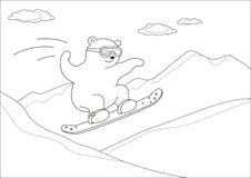 Teddy bear on a snowboard, contours. Teddy bear goes for a drive on a snowboard against mountains, contours Stock Photo