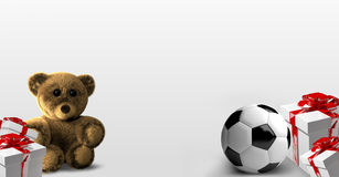 Teddy bear soccer ball gifts 3d render Royalty Free Stock Image