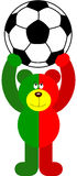 Teddy Bear Soccer Portugal Flag Holding Ball. Scalable vectorial image representing a teddy bear soccer Portugal flag holding ball,  on white Royalty Free Stock Image