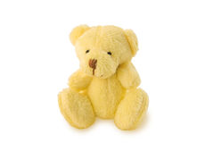Teddy bear soft toy sitting on white background. stock photos