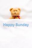 Teddy Bear som ligger i den vita sängen med meddelandet & x22; Lyckliga Sunday& x22; Royaltyfria Bilder