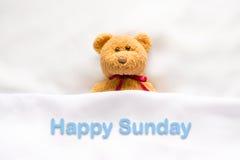 Teddy Bear som ligger i den vita sängen med meddelandet & x22; Lyckliga Sunday& x22; Arkivfoton