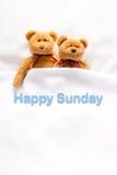 Teddy Bear som ligger i den vita sängen med meddelandet & x22; Lyckliga Sunday& x22; Royaltyfri Foto