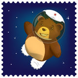 Teddy bear in space Royalty Free Stock Image