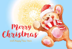 Teddy bear with a sparkler. Santa Claus. Christmas and new Year background. 2017 Merry Christmas and happy New Year greeting card. Santa Claus with Merry vector illustration