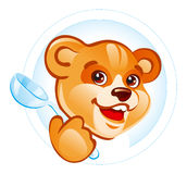 Teddy bear with spoon. Illustration of the smiling teddy bear with spoon Royalty Free Stock Images