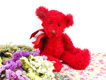 teddy bear and statice flower bouquet with printed fabric Royalty Free Stock Photos