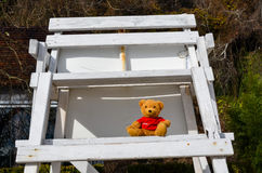 Teddy bear on a station of lifeguard Royalty Free Stock Photos