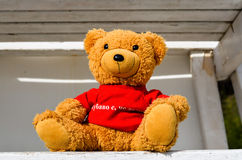 Teddy bear on a station of lifeguard in a sunny day. Teddy bear  with red T-shirt on a station of lifeguard on the beach Stock Photos