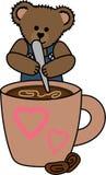 TEDDY BEAR STIRRING COFFEE Stock Photos