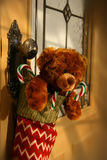 Teddy bear in stocking. Hanging on a door knob royalty free stock image
