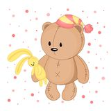 Teddy bear with a striped cap and hares in the hands Royalty Free Stock Photography
