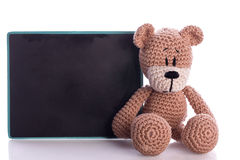 teddy bear student with blackboard Stock Image