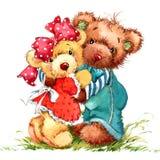 Teddy Bear Stuk speelgoed achtergrond voor jong geitjeverjaardag royalty-vrije illustratie