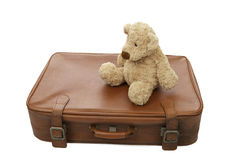 Teddy bear with suitcase Royalty Free Stock Image